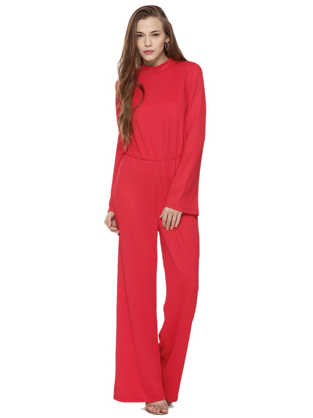 buy vero moda high neck jumpsuit for women women 39 s red multi jumpsuits online in india. Black Bedroom Furniture Sets. Home Design Ideas