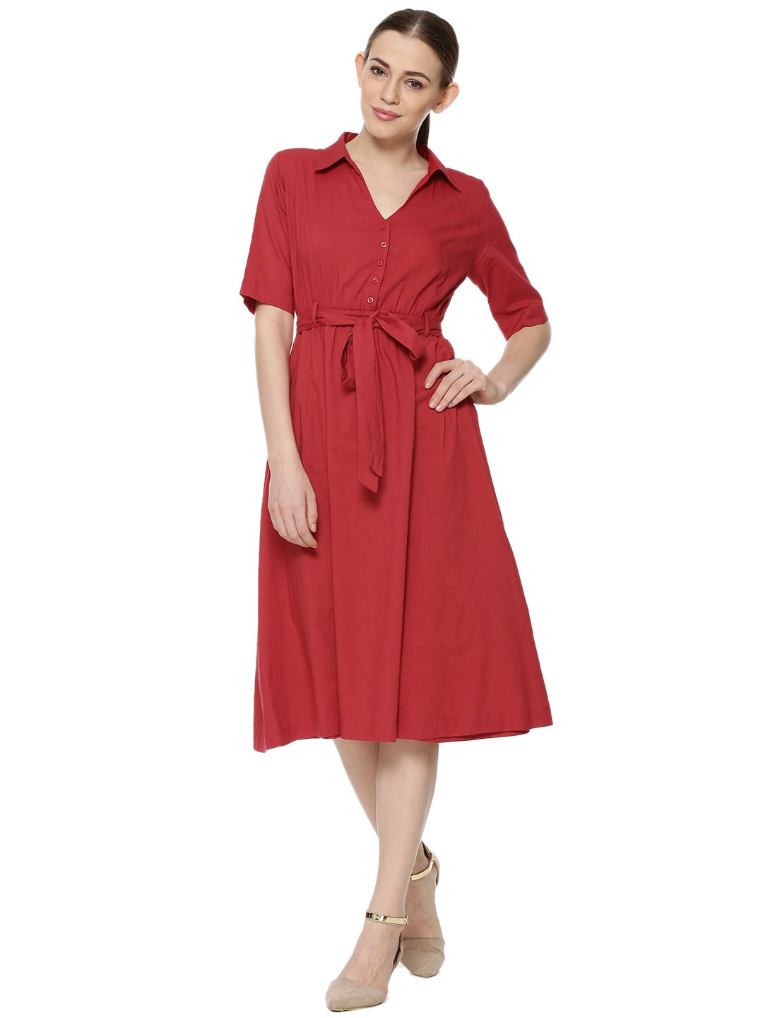 Buy koovs skater midi shirt dress for women women 39 s red for Where to buy a dress shirt