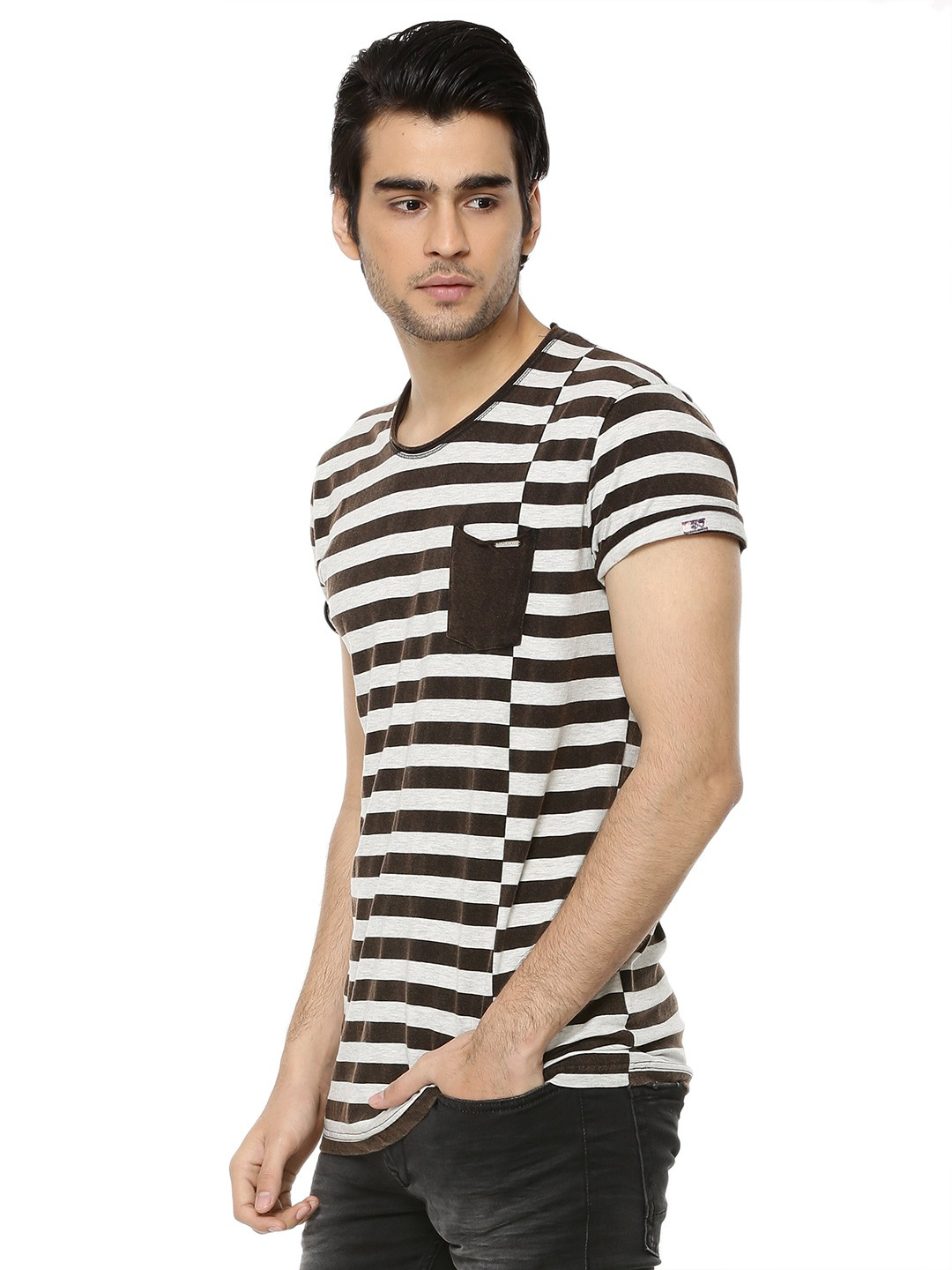 Buy being human engineered stripes patch pocket t shirt for Being human t shirts buy online india