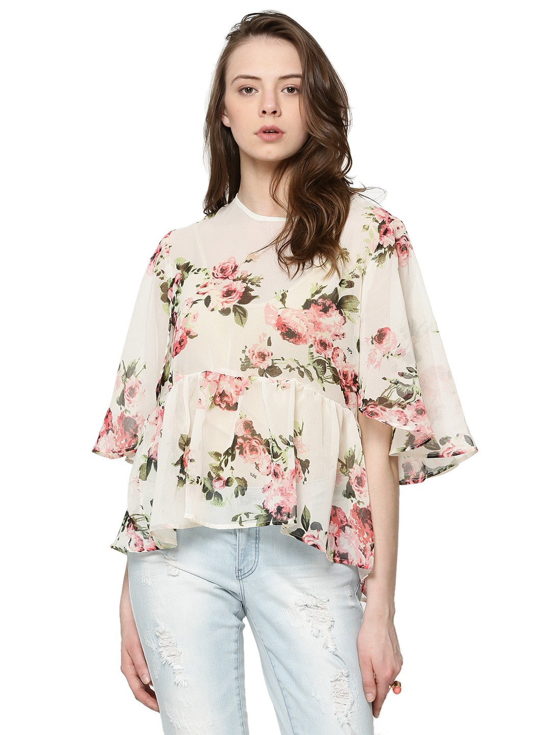 Buy RENA LOVE Floral Print Peplum Top For Women