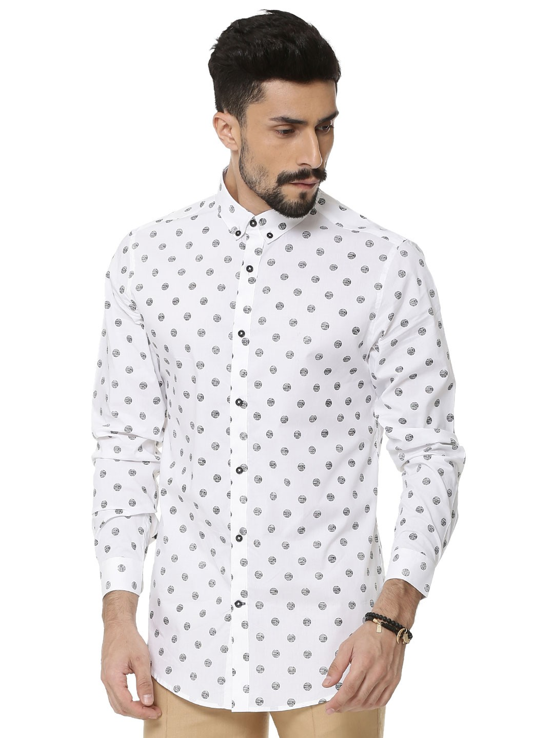 Buy MR BUTTON Exploding Star Print Button Down Shirt For Men ...