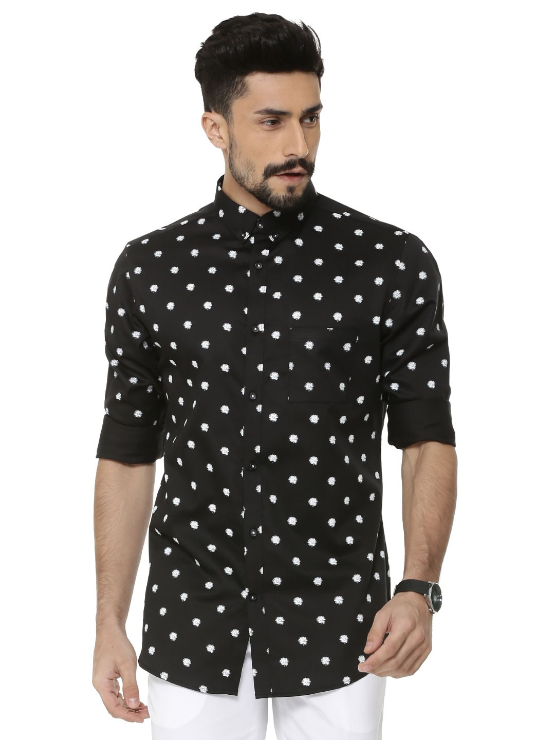 Buy mr button exploding star print button down shirt for for Men s down shirt