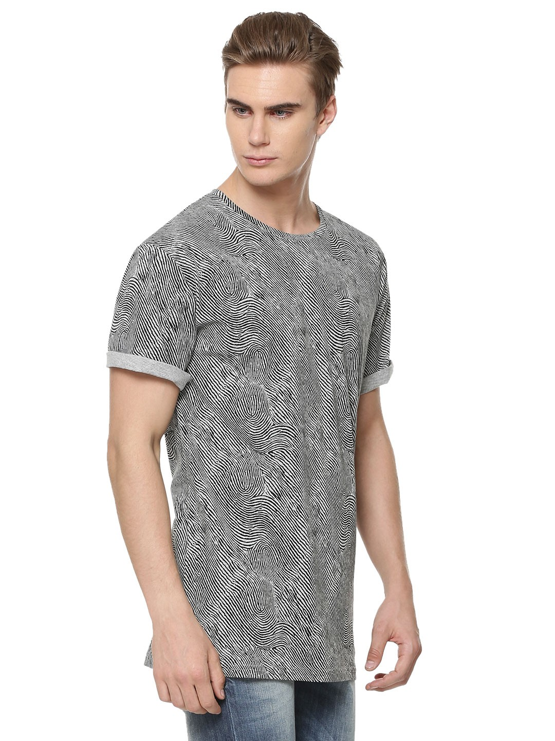 buy only sons t shirt with finger print impression for men men 39 s grey t shirts online in india. Black Bedroom Furniture Sets. Home Design Ideas