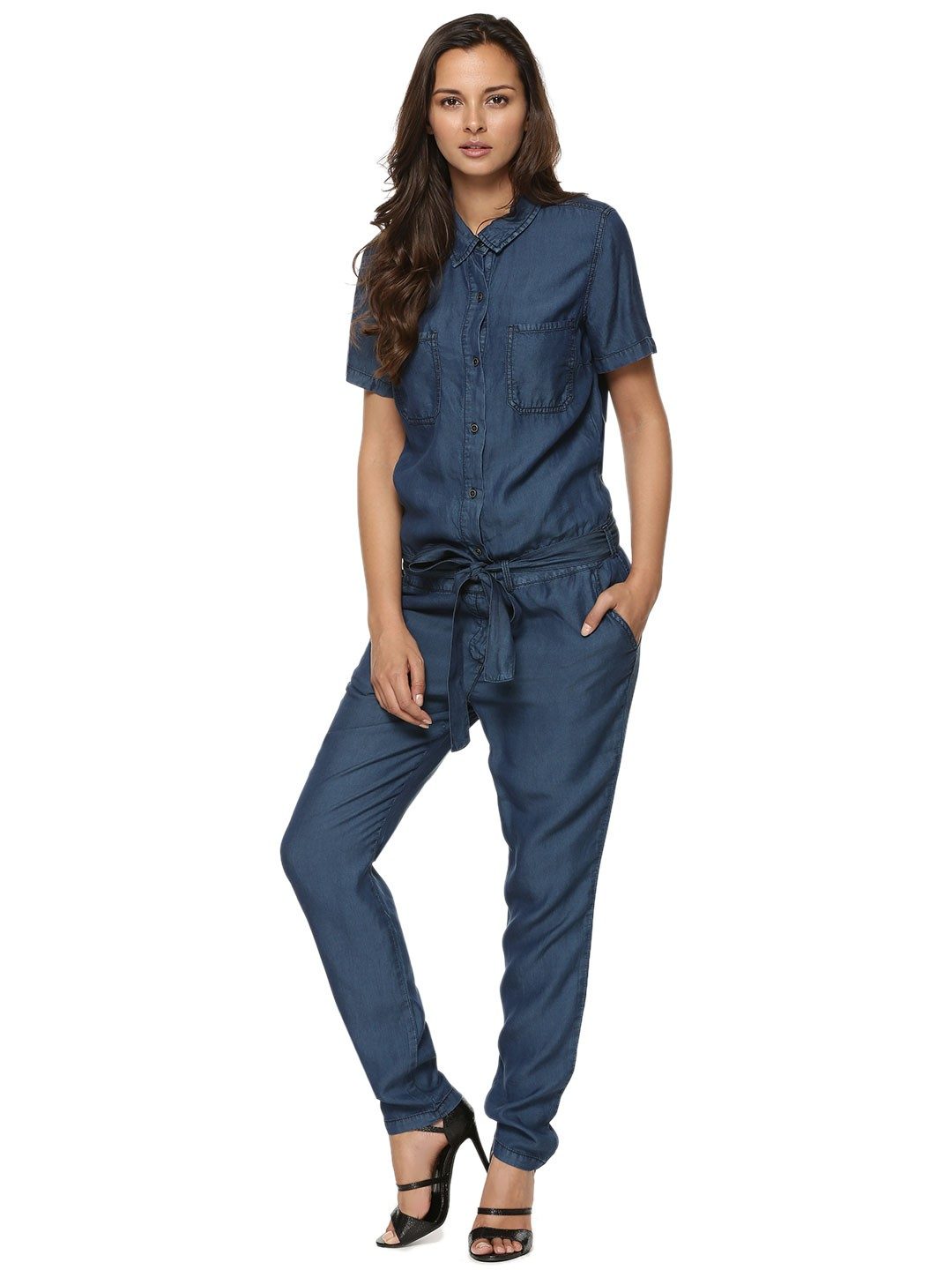 Buy VILA Tie-waist Denim Jumpsuit For Women - Womenu0026#39;s Blue/Multi/Green Jumpsuits Online In India