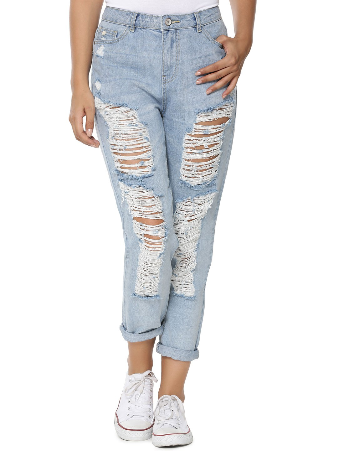 Buy ONLY Ripped Boyfriend Jeans For Women - Women's Blue Boyfriend ...