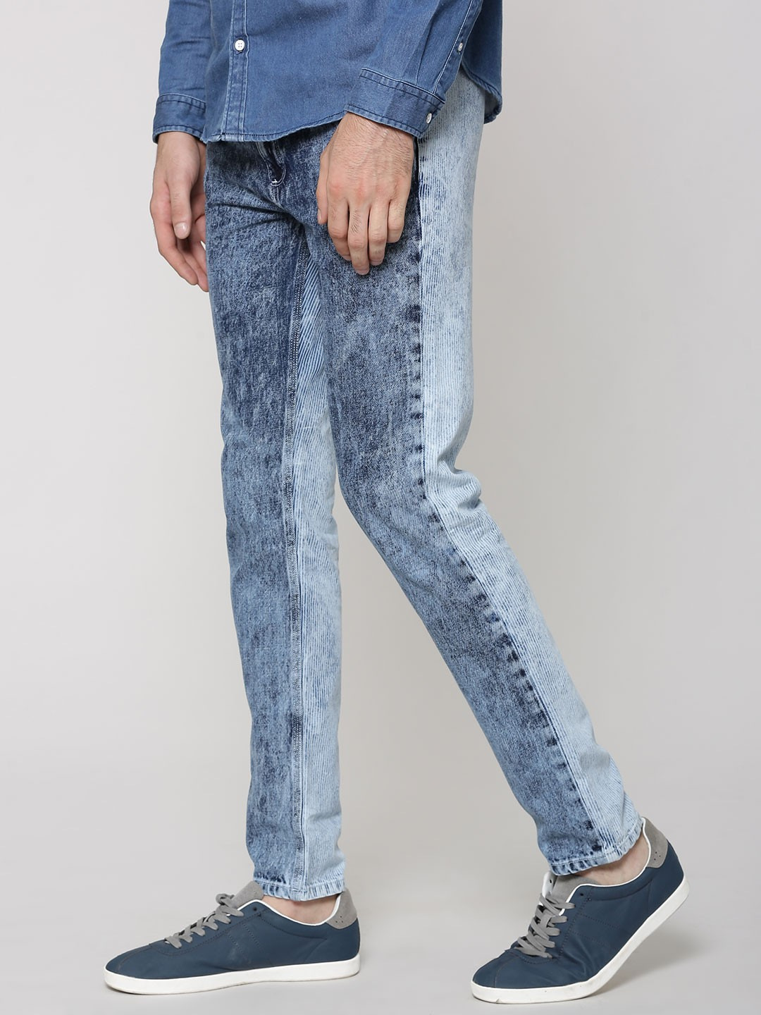 Buy BLUE SAINT Two-Tone Acid Wash Slim Jeans For Men - Men's Blue ...