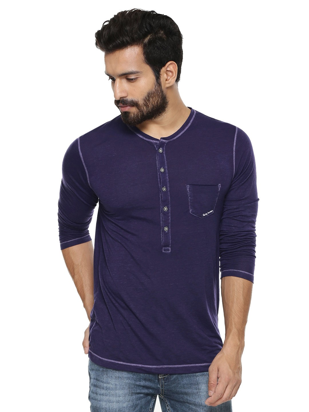 Buy being human henley with patch pocket for men men 39 s for Being human t shirts buy online india