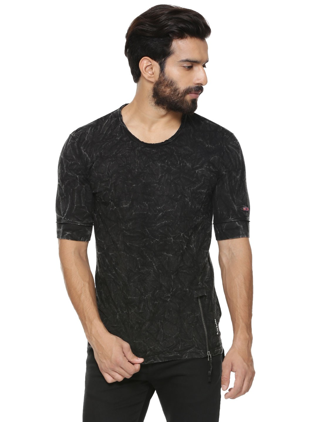 Buy being human oil wash t shirt with side zip for men for Being human t shirts buy online india
