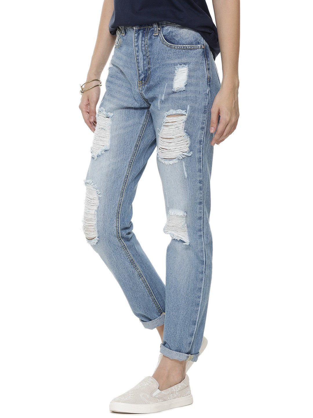 Buy MOMOKROM Distressed Boyfriend Jeans For Women - Women's Blue ...