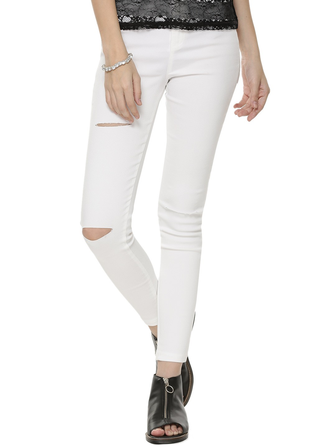 Buy MOMOKROM Ripped Knee Skinny Jeans For Women - Women's White ...