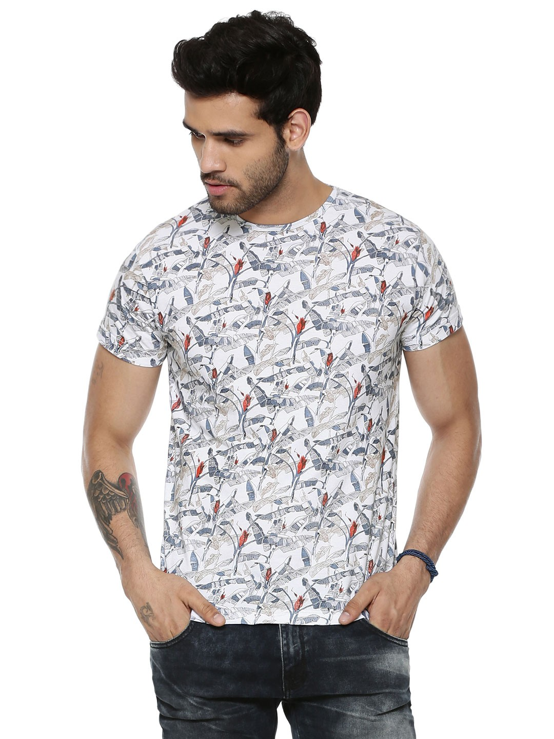 Buy pepe jeans rose floral printed t shirt for men men 39 s for Online printed t shirts