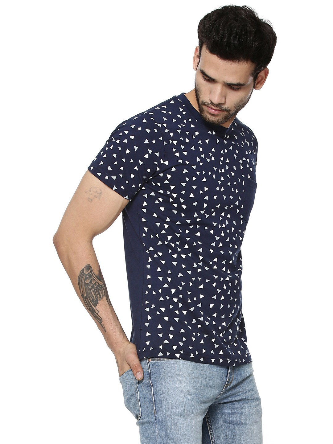 Buy blotch all over printed t shirt with patch pocket for for Online printed t shirts