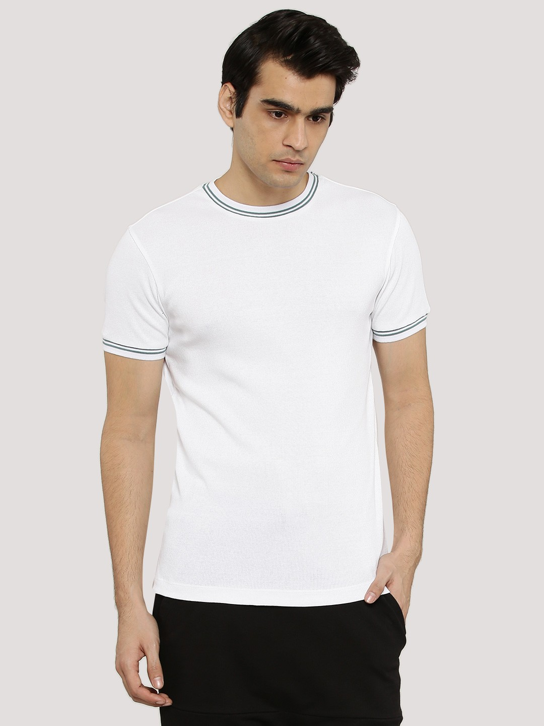 Buy koovs ribbed crew neck t shirt for men men 39 s white t for Mens ribbed t shirts