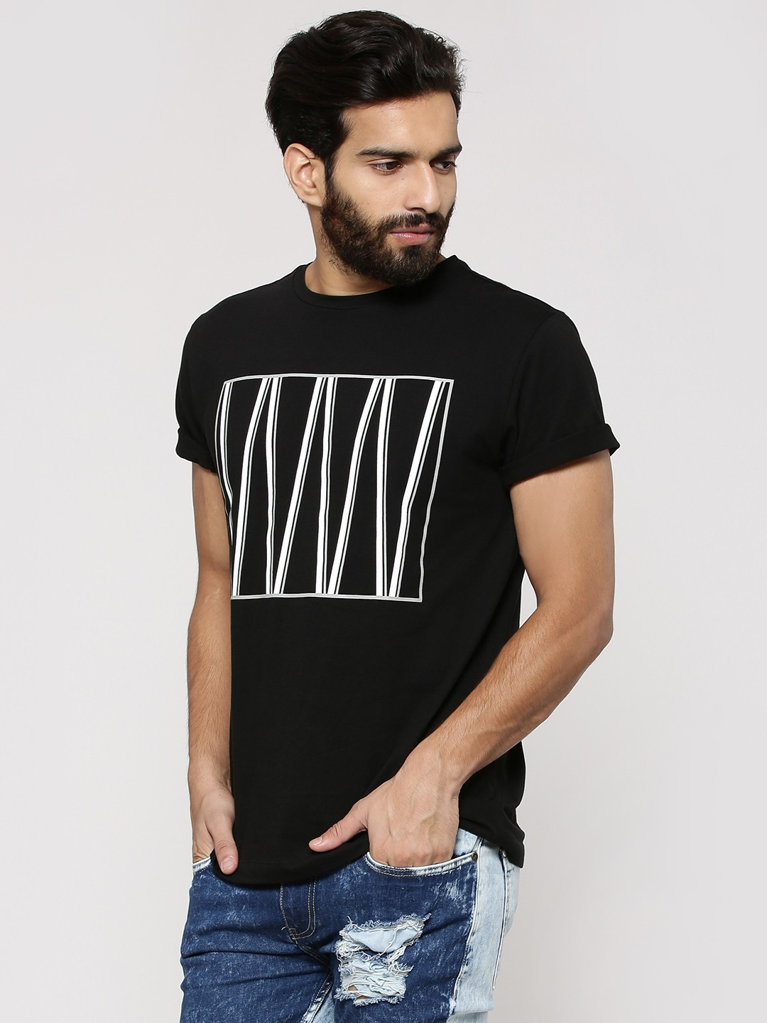 Black t shirt style - Koovs Square Line Print Tee In The Style Of Chris Brown