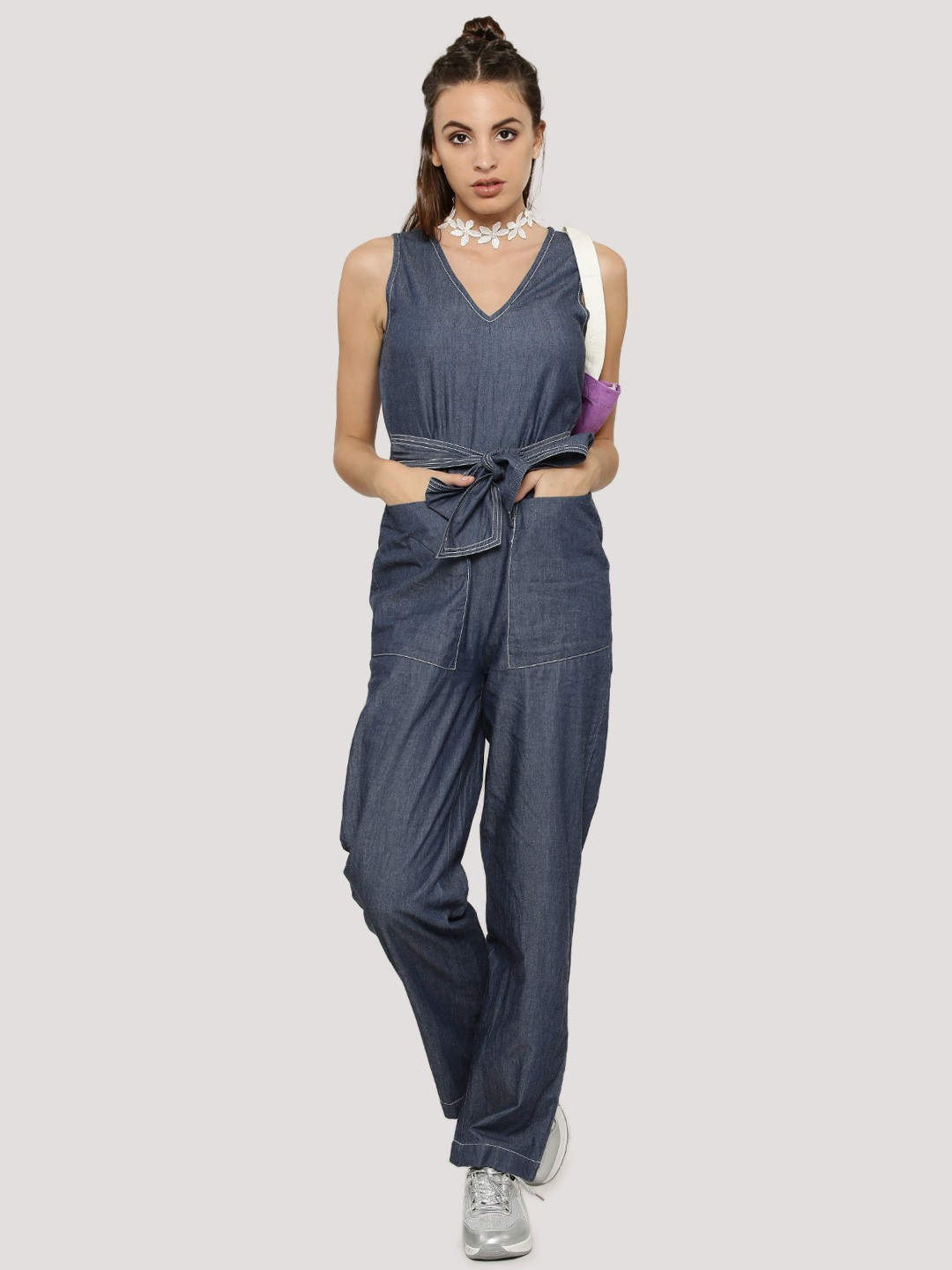 Buy KOOVS Stitch Detail Denim Jumpsuit For Women - Womenu0026#39;s Blue/Multi/Green Jumpsuits Online In ...
