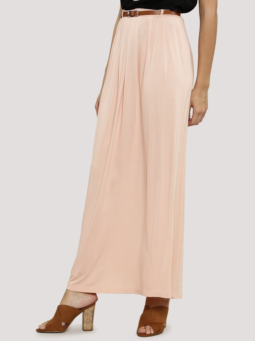Buy KOOVS Belted Maxi Skirt For Women - Women's Pink Maxi Skirts ...