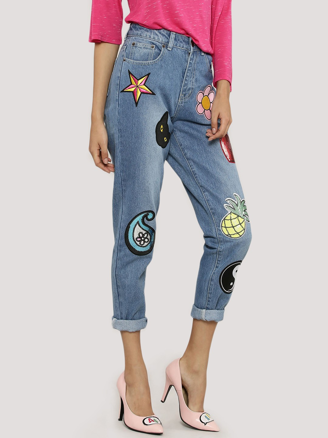 Buy LIQUOR N POKER Novelty Patch Denim Jeans For Women - Womenu0026#39;s Blue/Multi/Green Straight Jeans ...