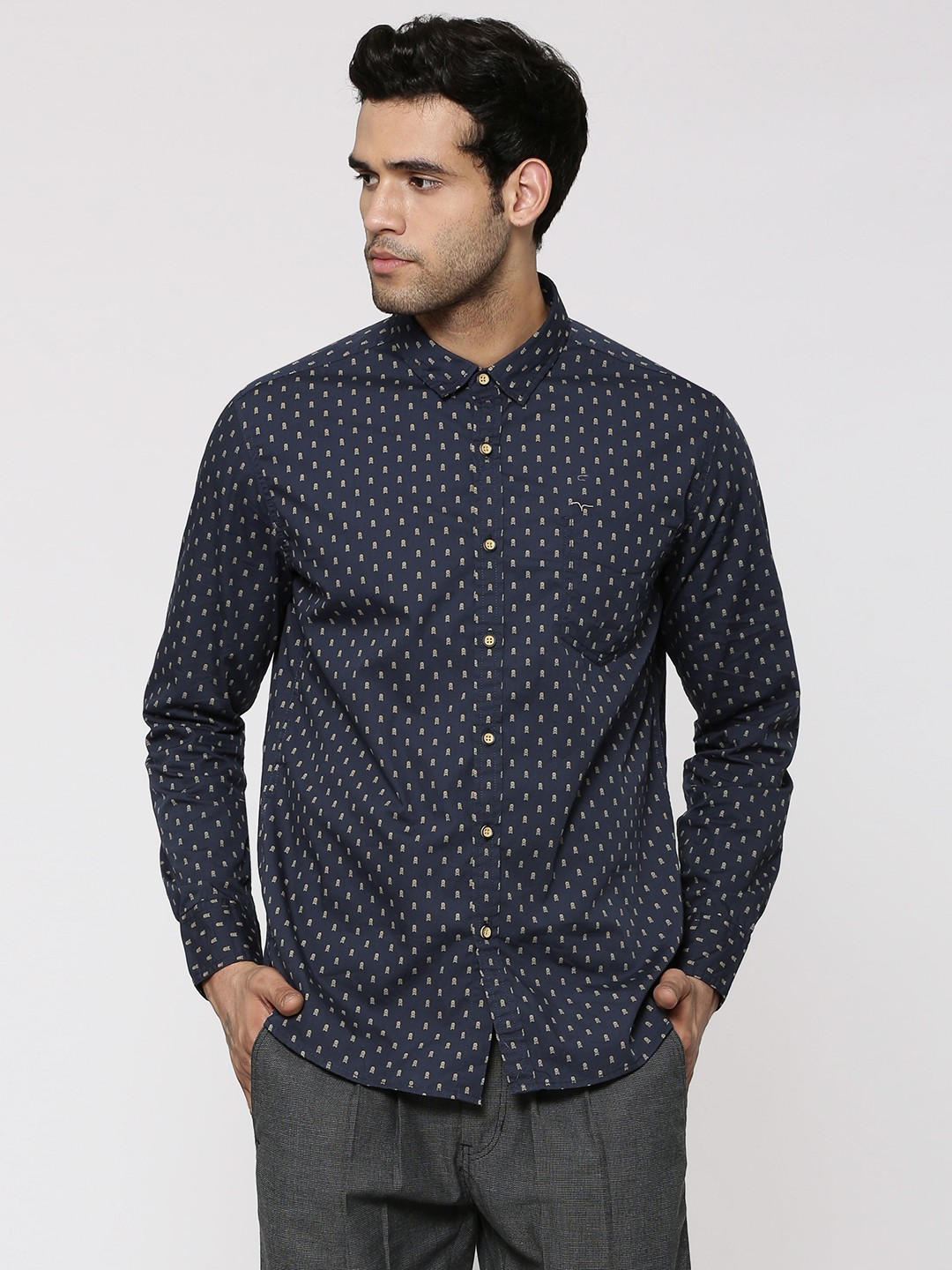 Buy flying machine all over skull motif printed shirt for for Machine to print shirts