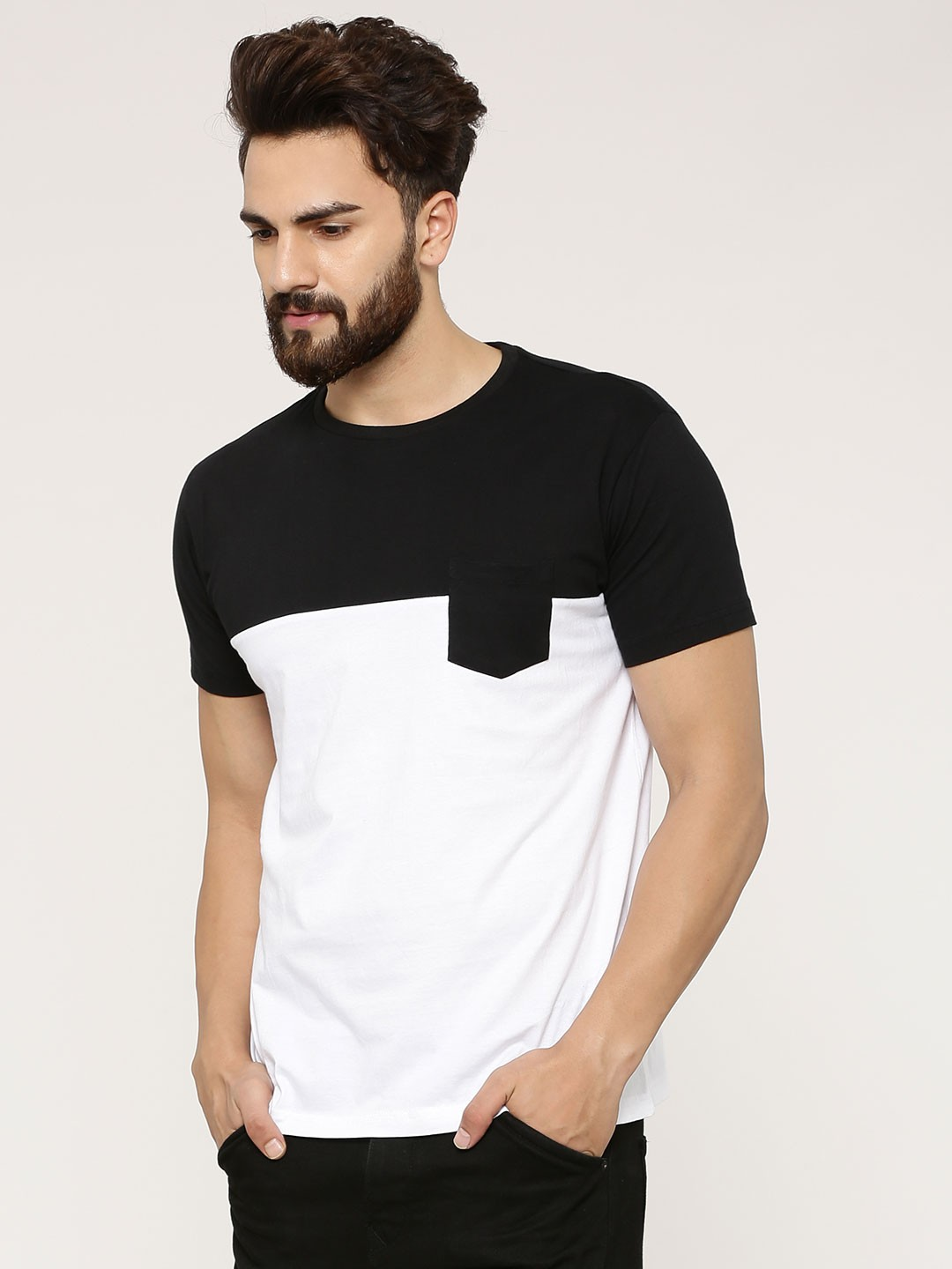 Buy spring break colour block t shirt with patch pocket for Buy men shirts online