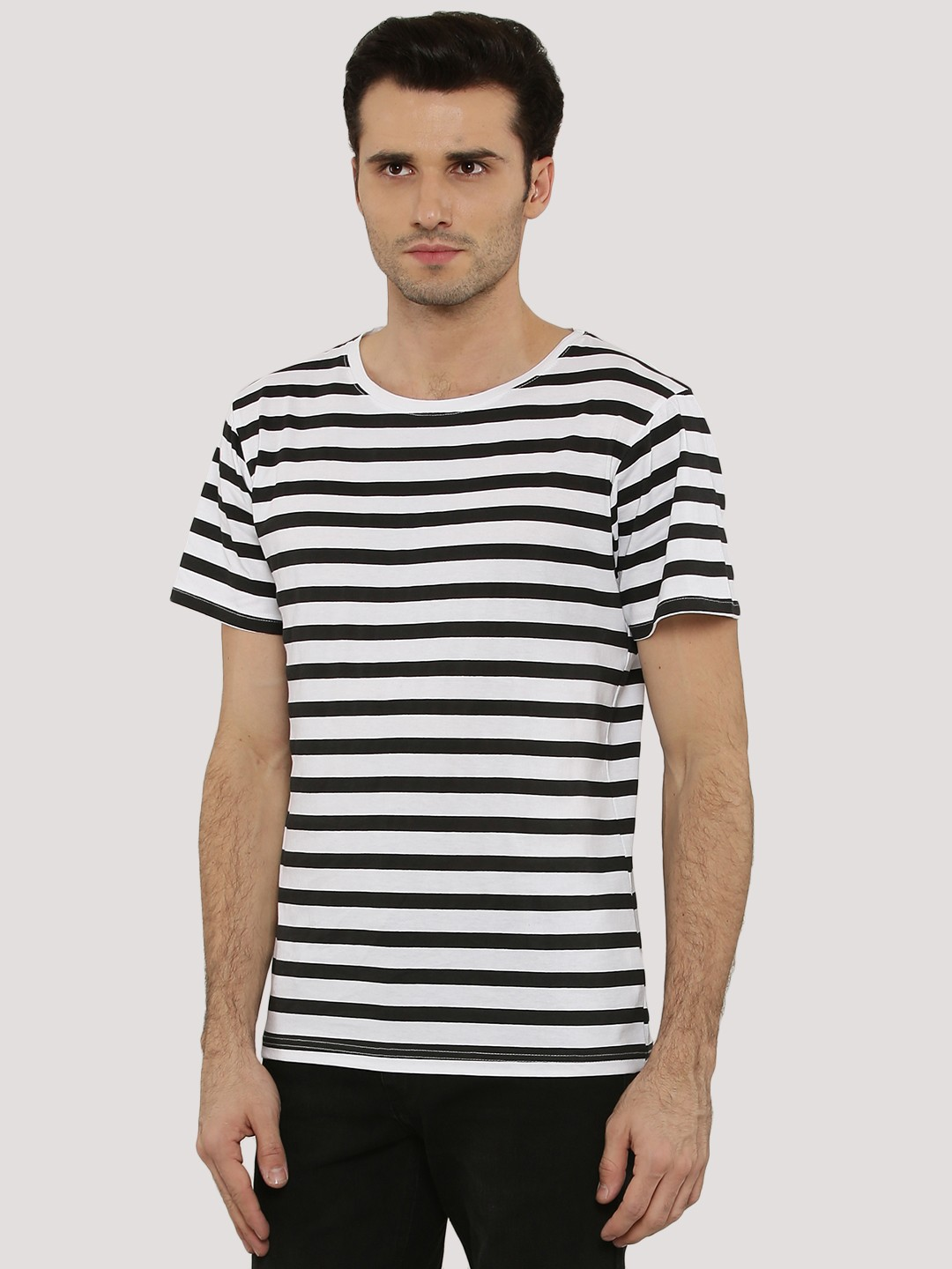 Black t shirt with white stripes - Blue Saint Striped T Shirt