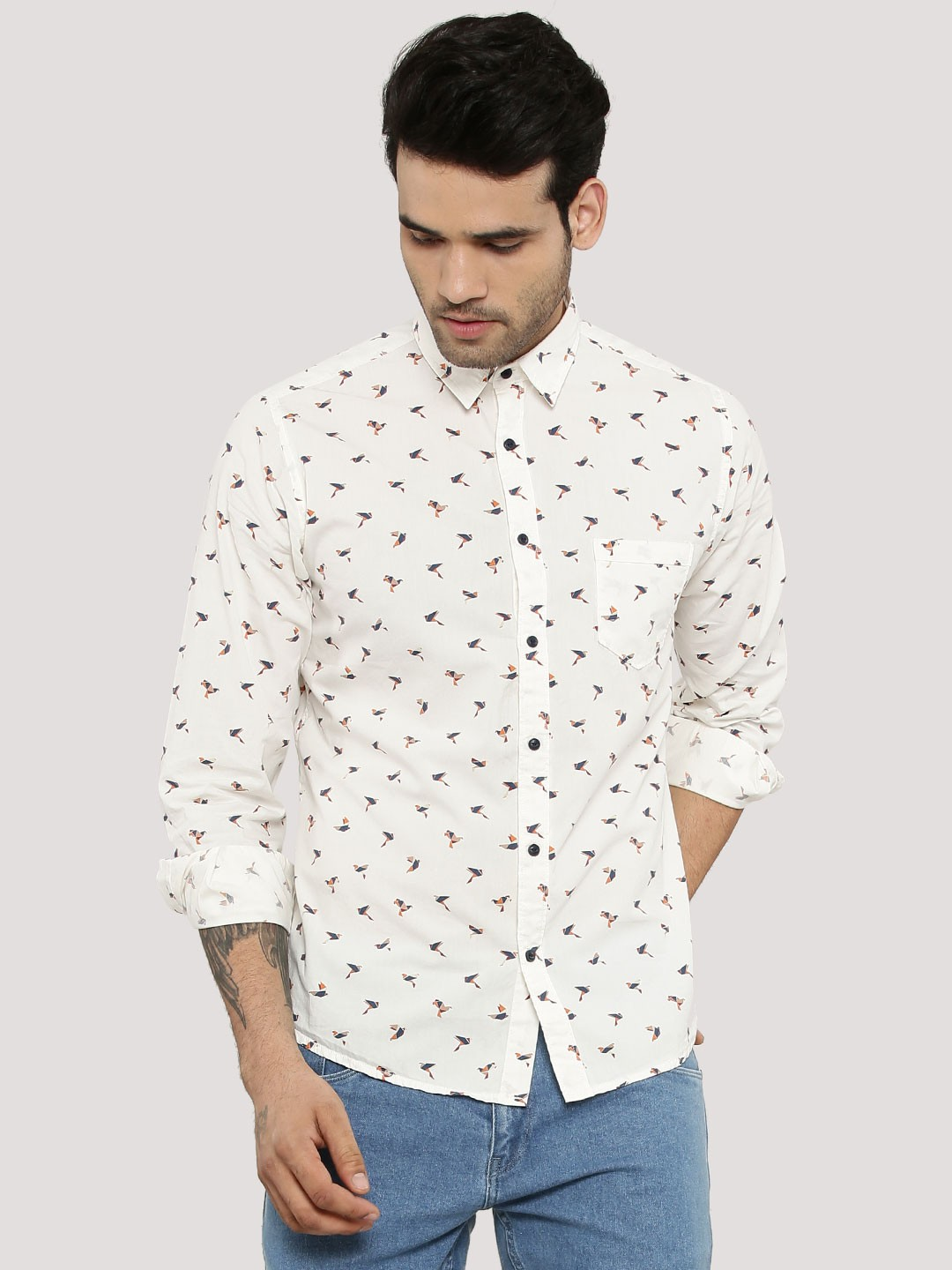 Buy PEPE JEANS Bird Print Shirt For Men - Men's Off-White Casual ...