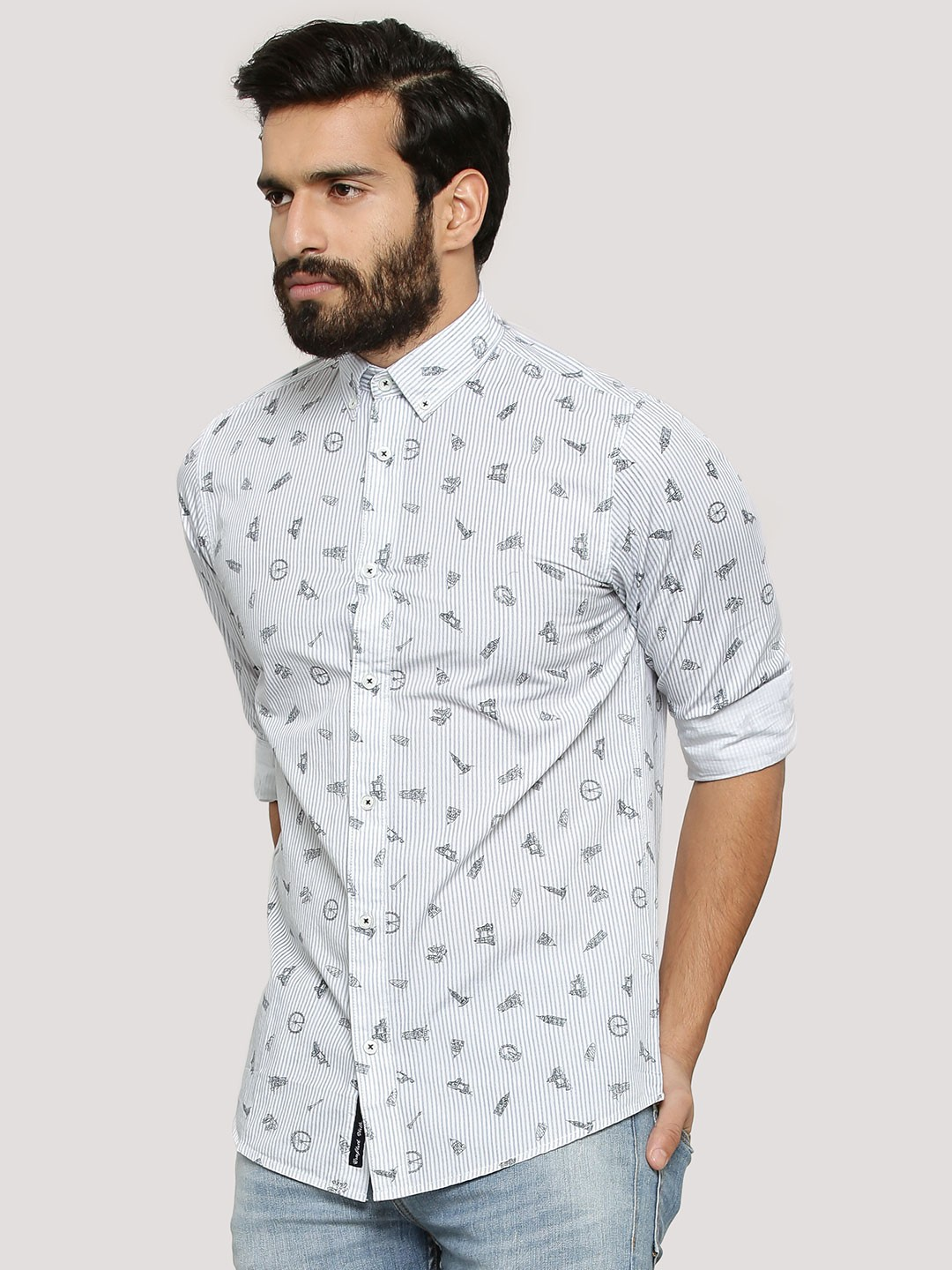 Buy PEPE JEANS Monument Printed Shirt For Men - Men's White Casual ...