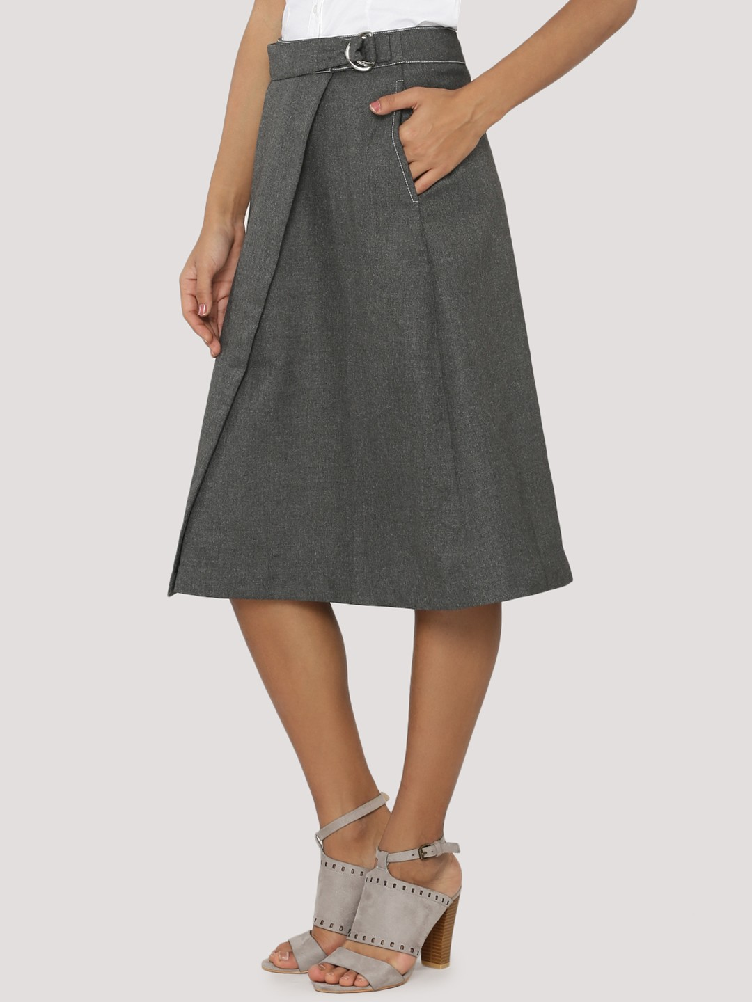 buy koovs wrap front a line skirt for s