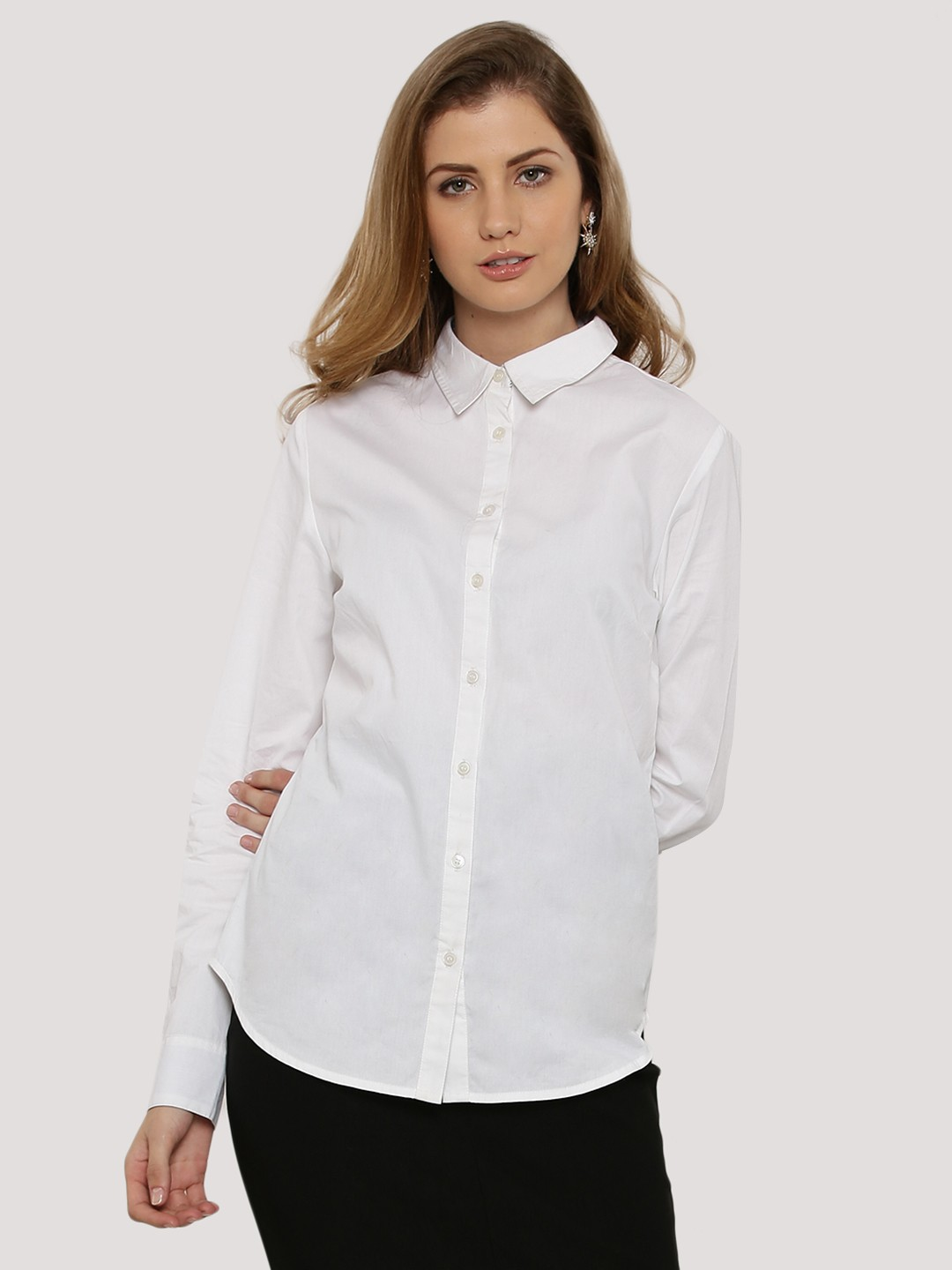 Buy KOOVS Tailored Fitted Shirt For Women - Women's White Shirts ...