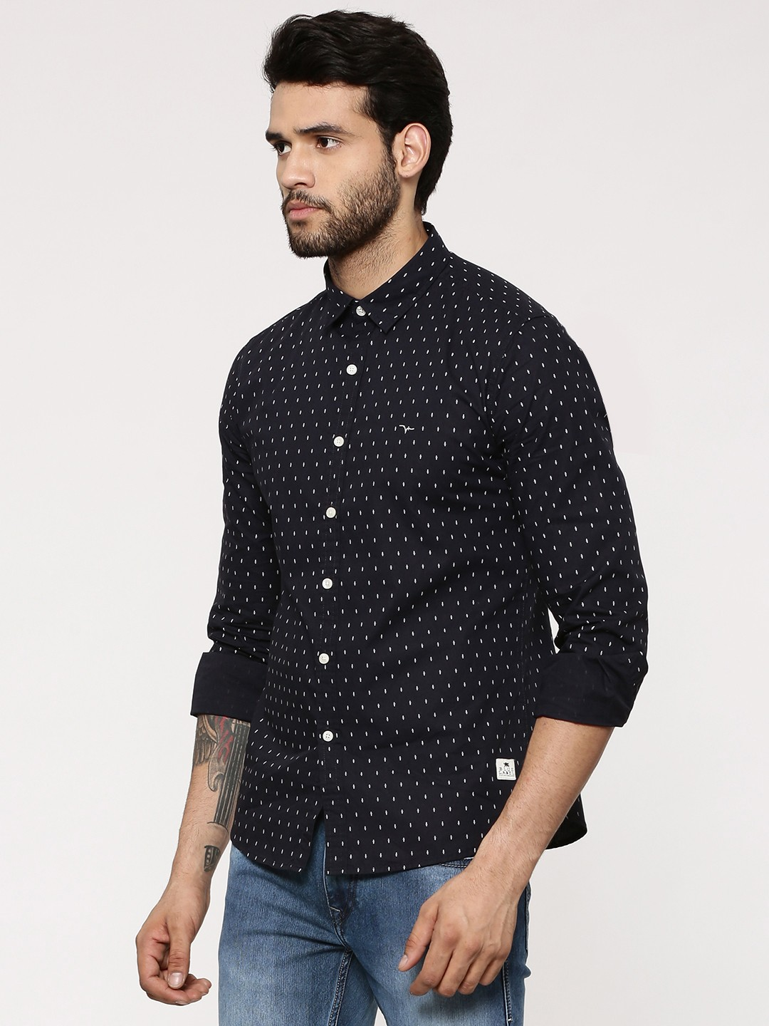 Buy flying machine printed shirt with contrast buttons for for Machine to print shirts