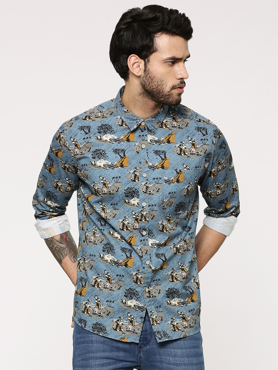 Buy flying machine stone age printed shirt for men men 39 s for Machine to print shirts