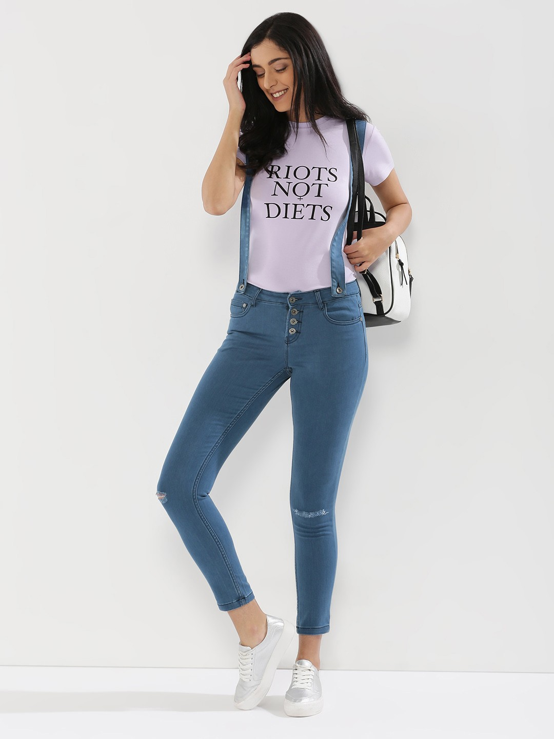 Buy K DENIM Detachable Suspenders Ripped Jeans For Women - Women's ...