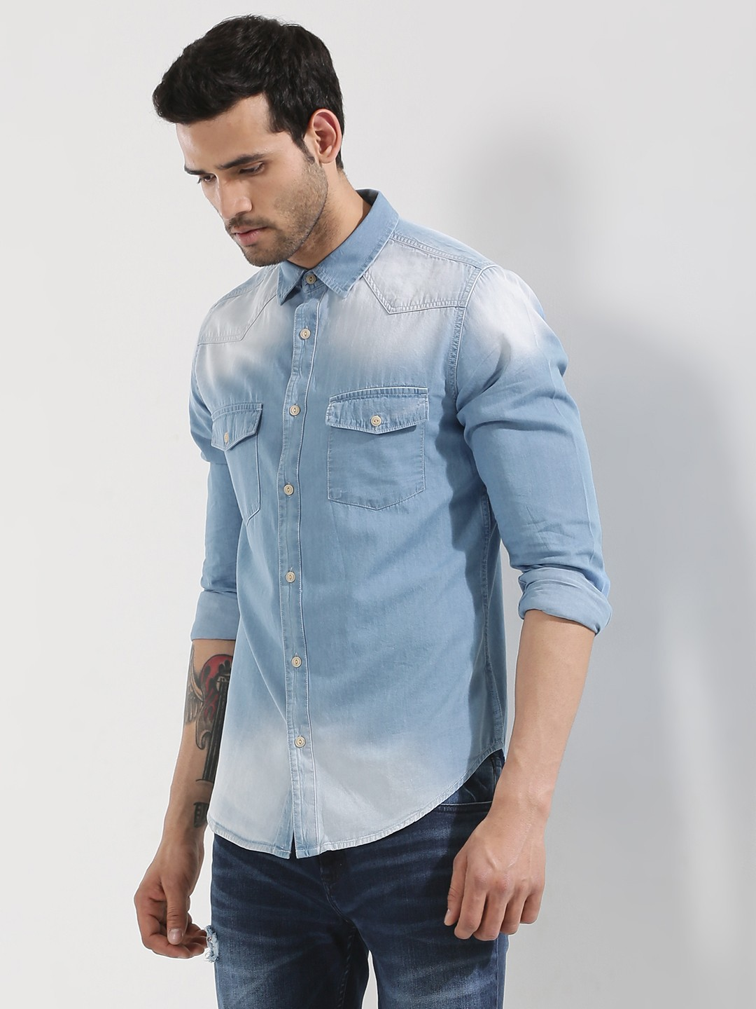 Buy Blue Saint Exclusive Denim Shirt In Mid Wash For Men
