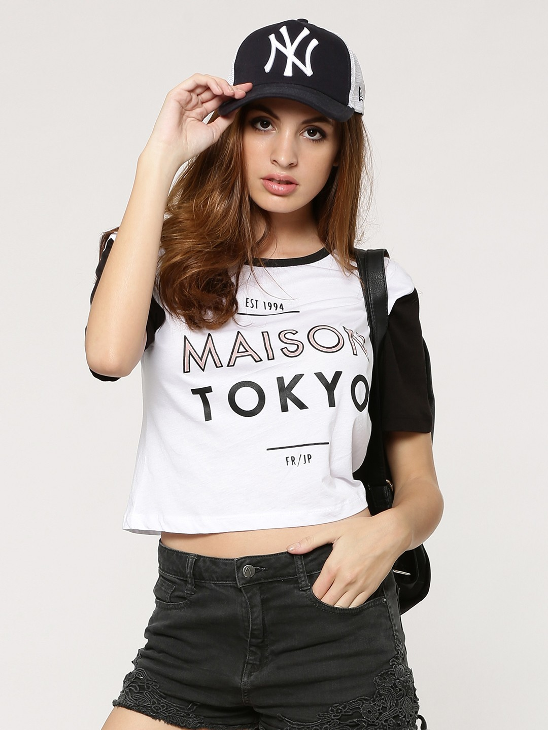 buy new look maison tokyo colour block t shirt for women women 39 s white t shirts online in india. Black Bedroom Furniture Sets. Home Design Ideas