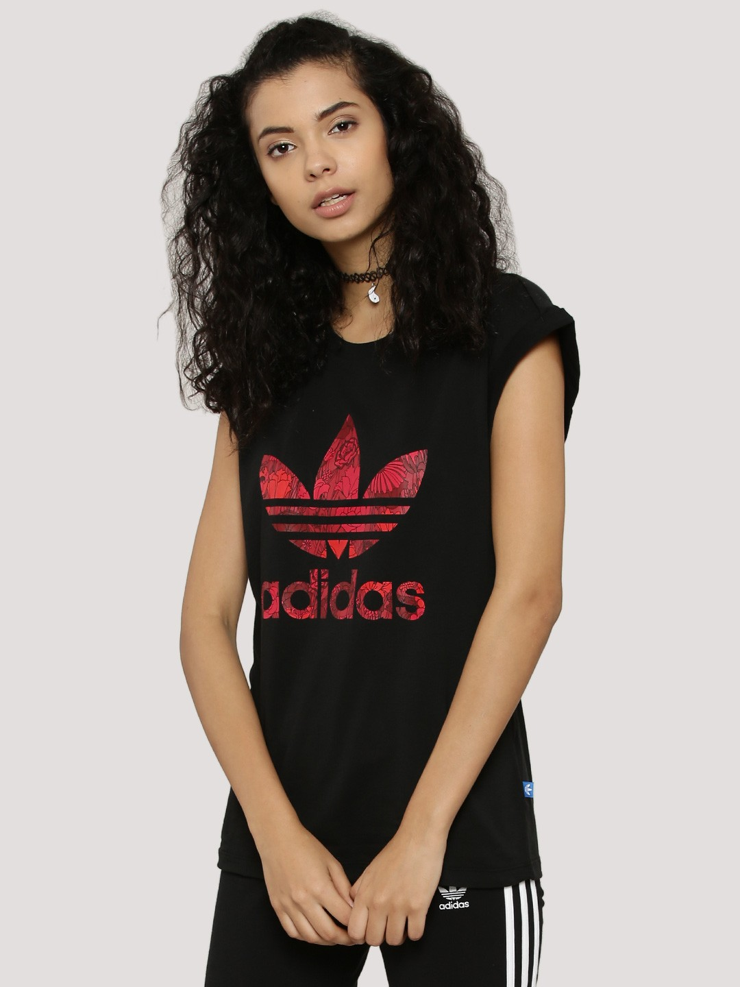 Black t shirt buy online - Adidas Originals Roll Up T Shirt