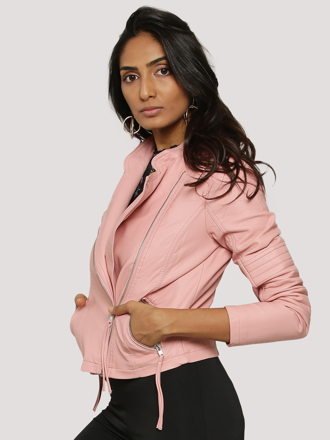 buy vero moda short pu jacket for women women 39 s pink jackets online in india. Black Bedroom Furniture Sets. Home Design Ideas
