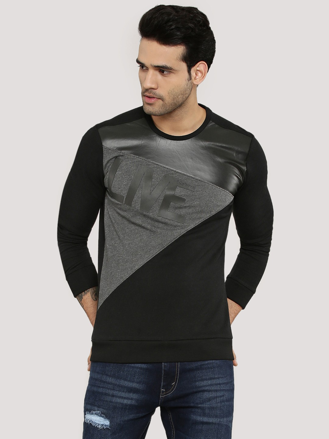 Buy being human cut sew panel t shirt with rubber print for Being human t shirts buy online india