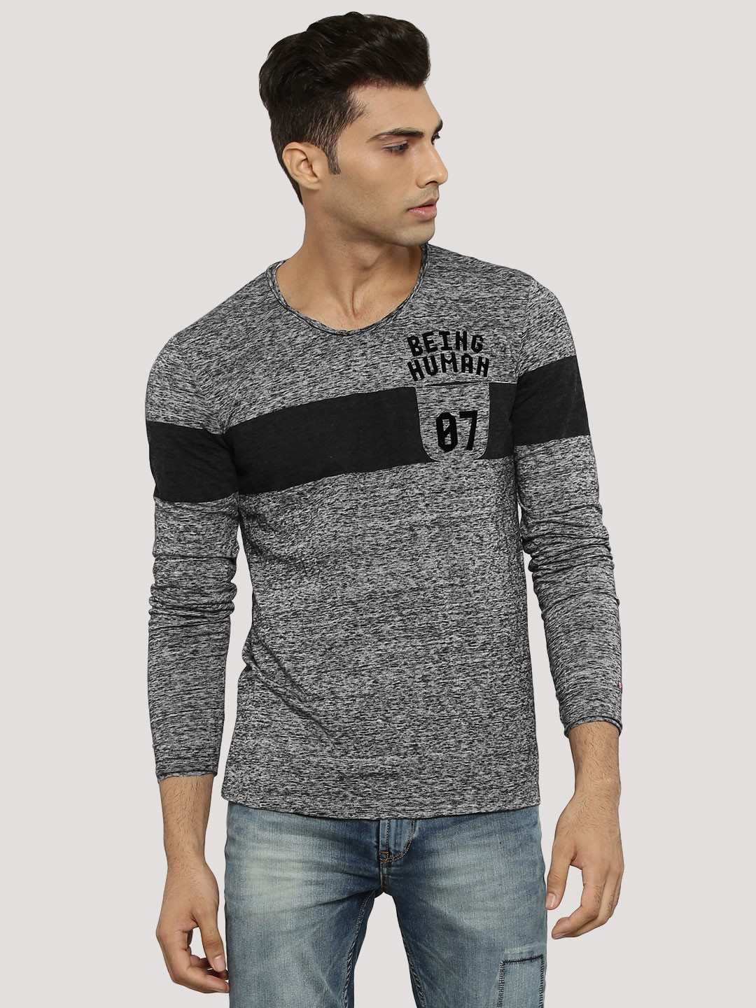 Buy being human panel t shirt in melange for men men 39 s for Buy being human t shirts online