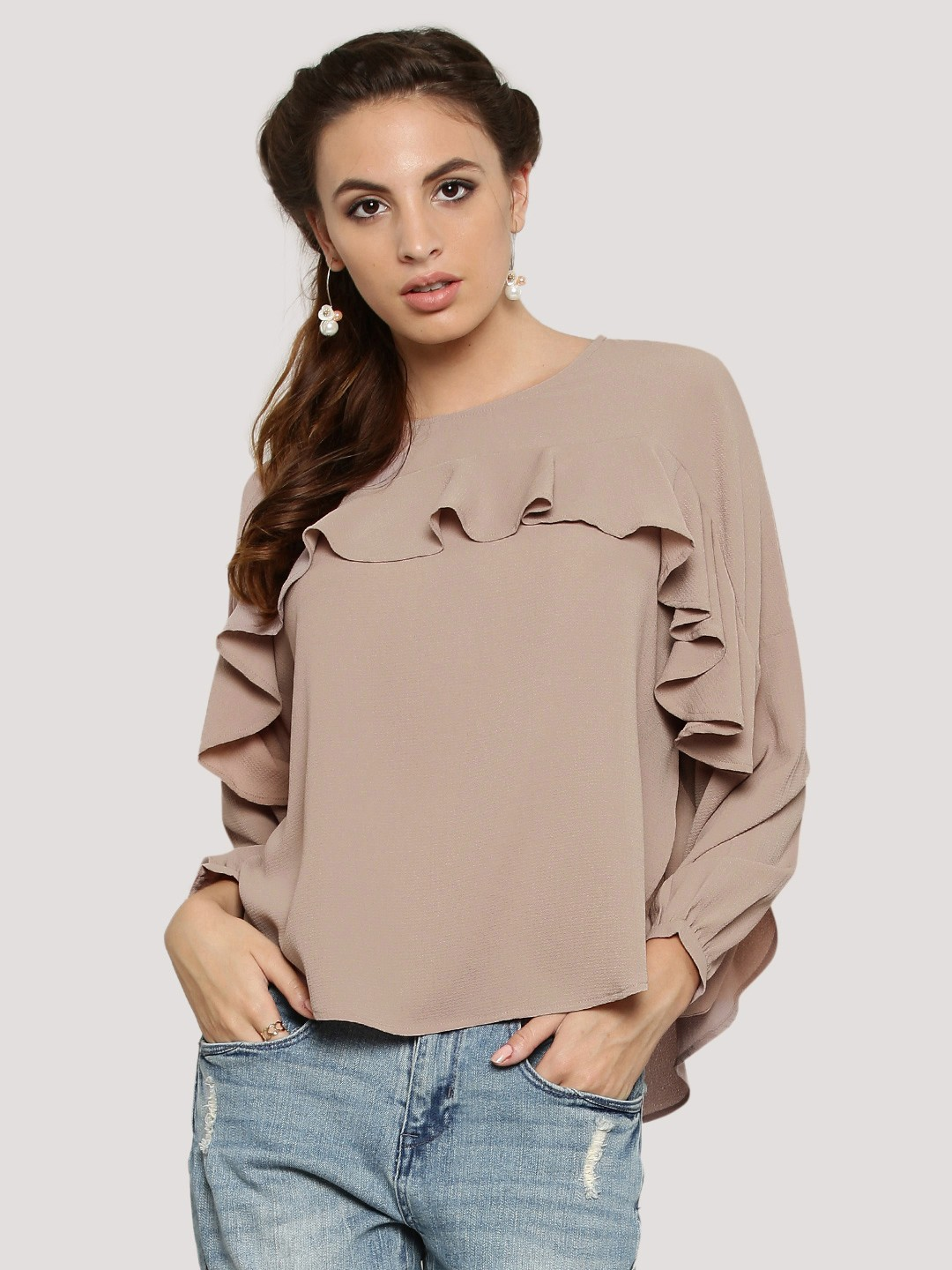 More Details Fuzzi Scroll-Trim Poplin Oversized Top Details Fuzzi poplin top with scroll-print trim. Spread collar; button front. Spread collar; button front. Long sleeves; button cuffs.