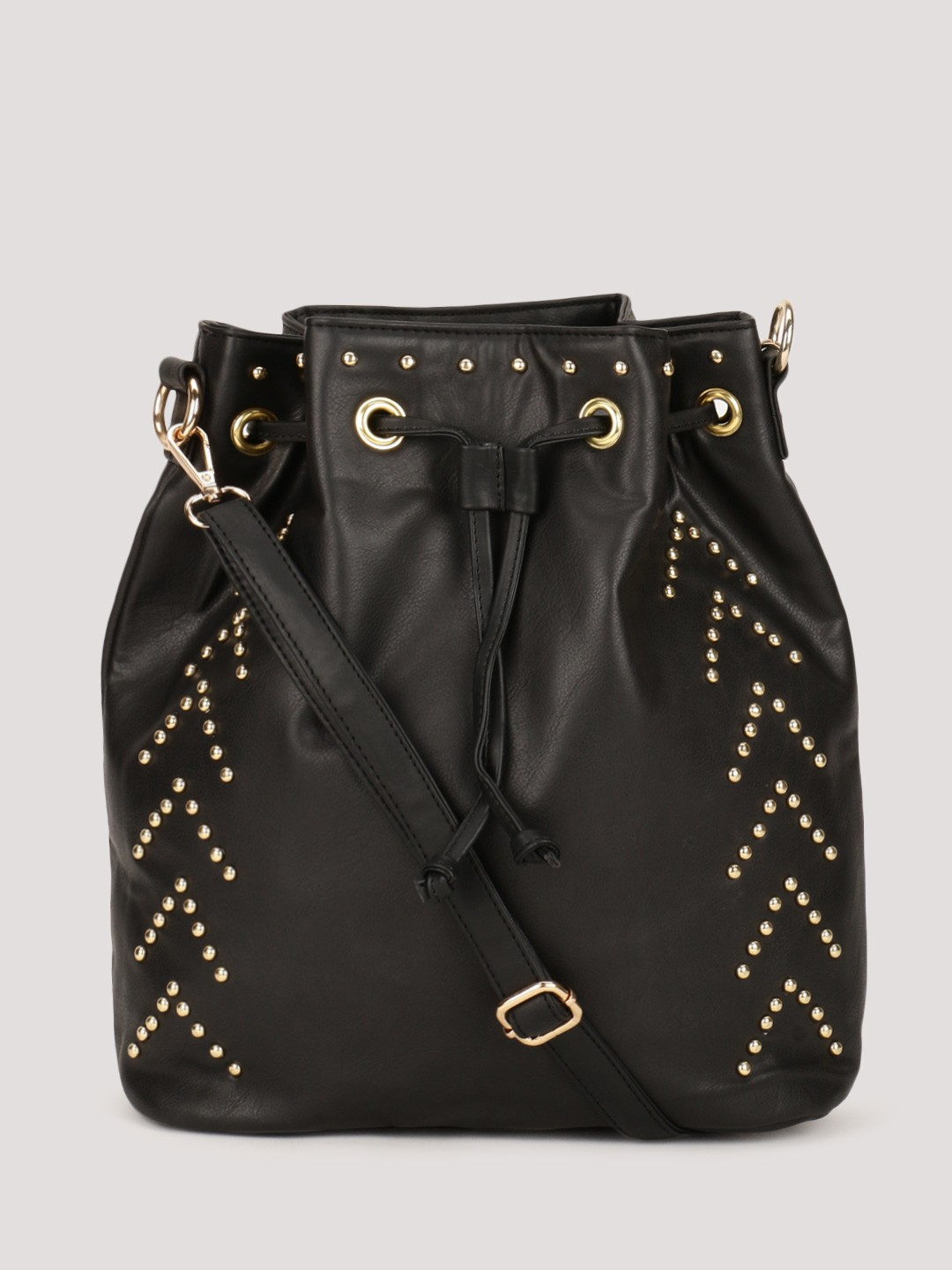 Buy PARIS BELLE Studded Bucket Sling Bag For Women - Women's Black ...