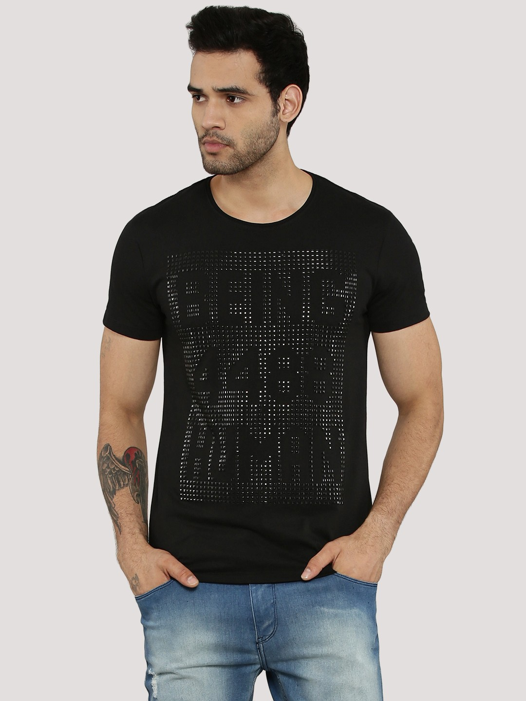 Buy being human studded logo t shirt for men men 39 s black for Being human t shirts buy online india