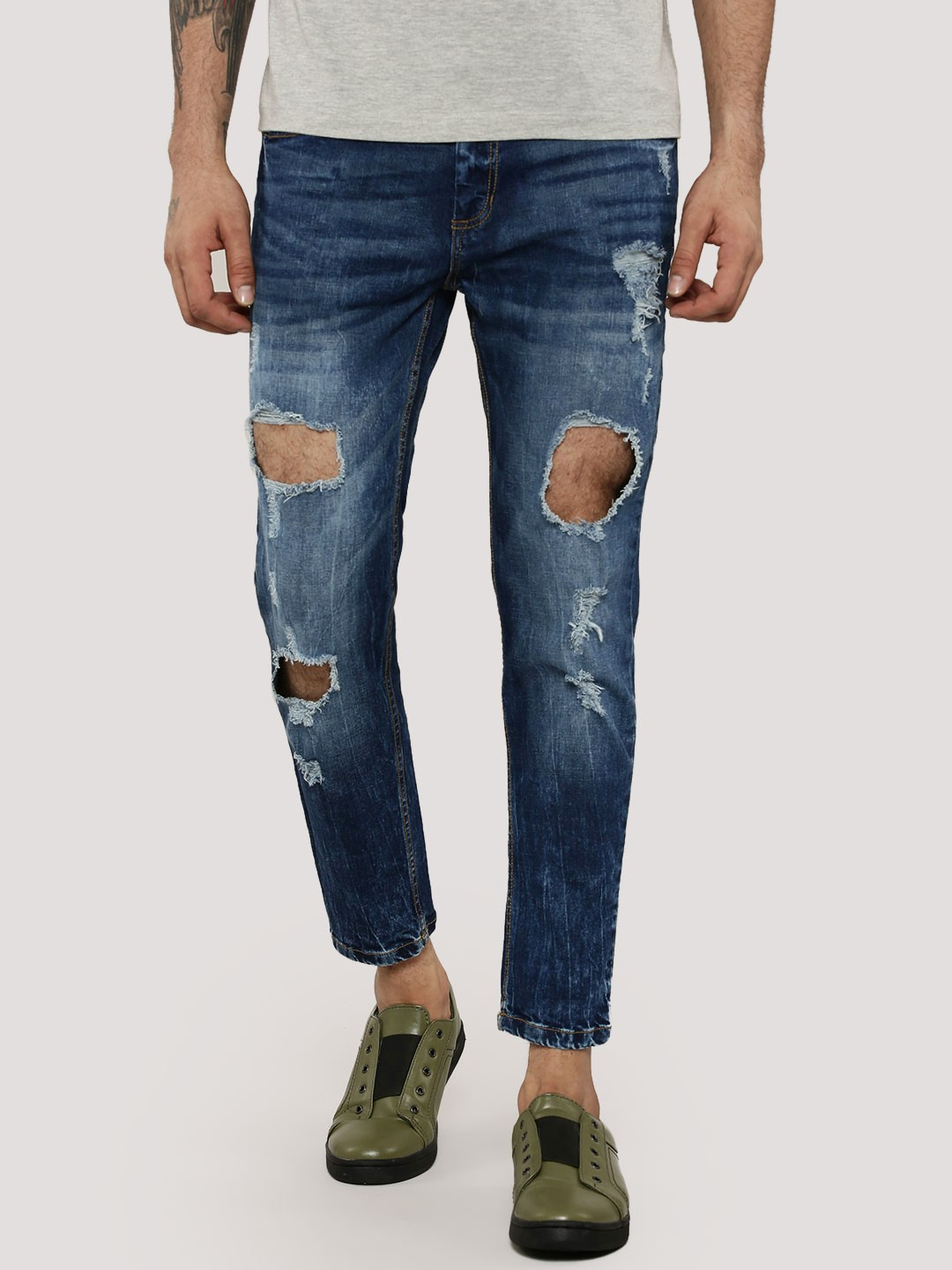 ADAMO LONDON Extreme Ripped Jeans In Slim Fit - Buy ADAMO LONDON Extreme Ripped Jeans In Slim Fit For Men - Men's