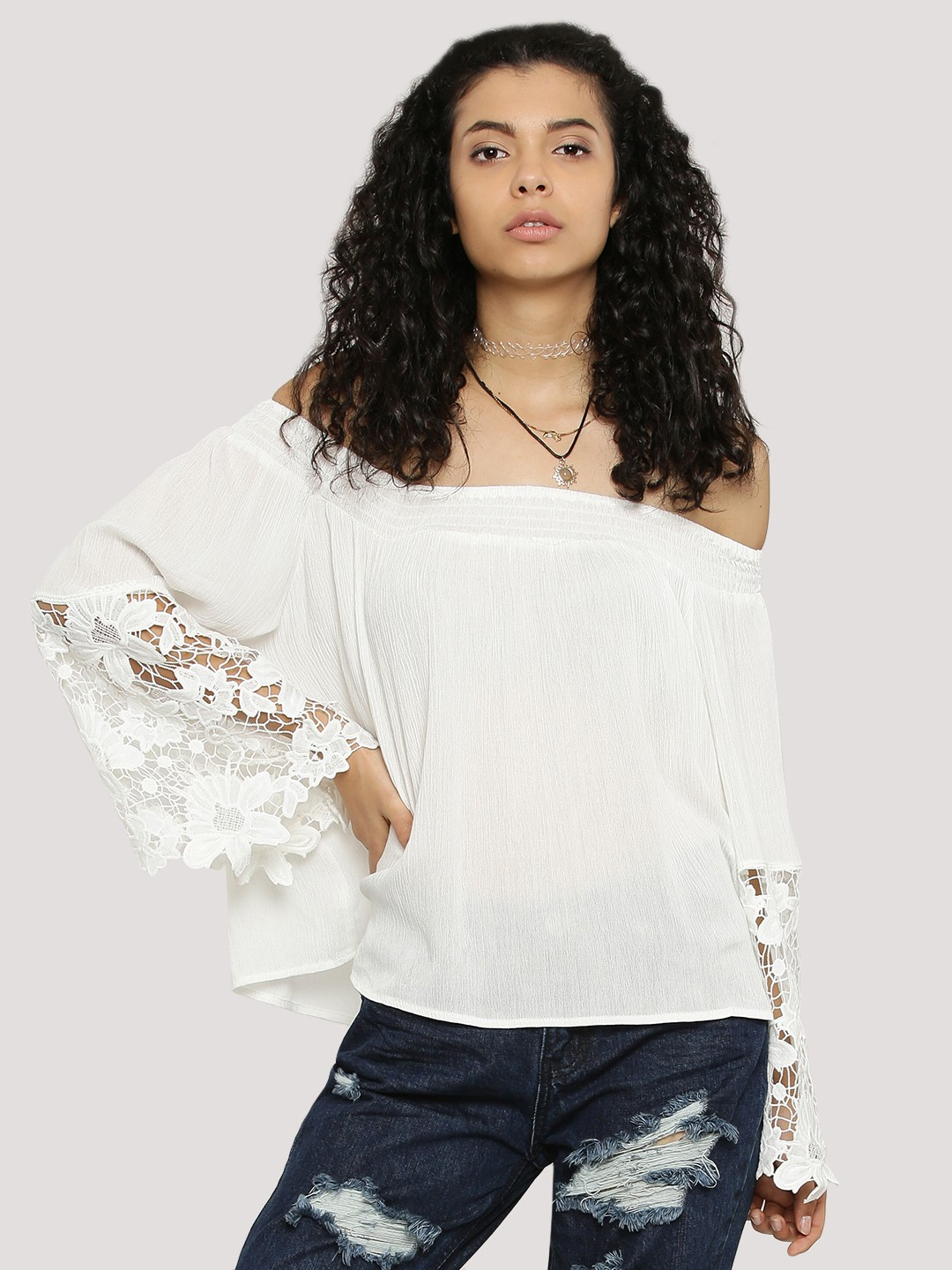 Buy GLAMOROUS Bardot Top With Lace Detailed Sleeves For Women ...