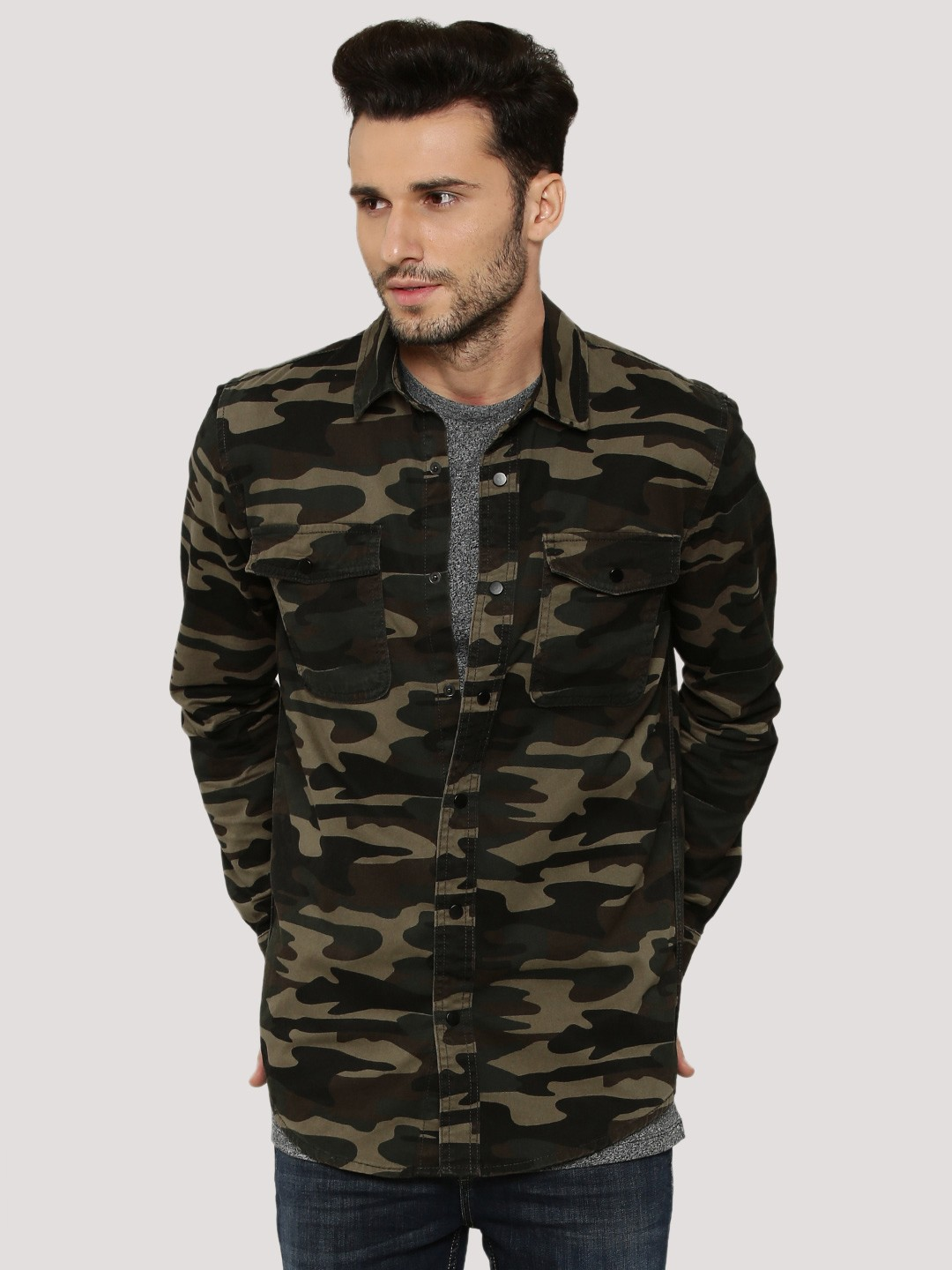 Buy New Look Camo Shacket With Twin Pockets For Men Men
