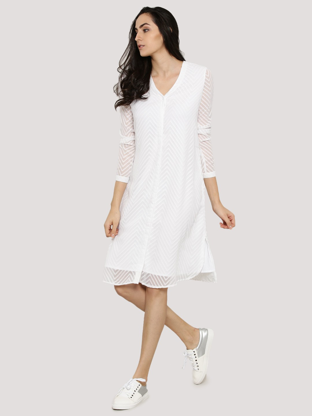 Buy femella white dobby shirt dress for women women 39 s Buy white dress shirt