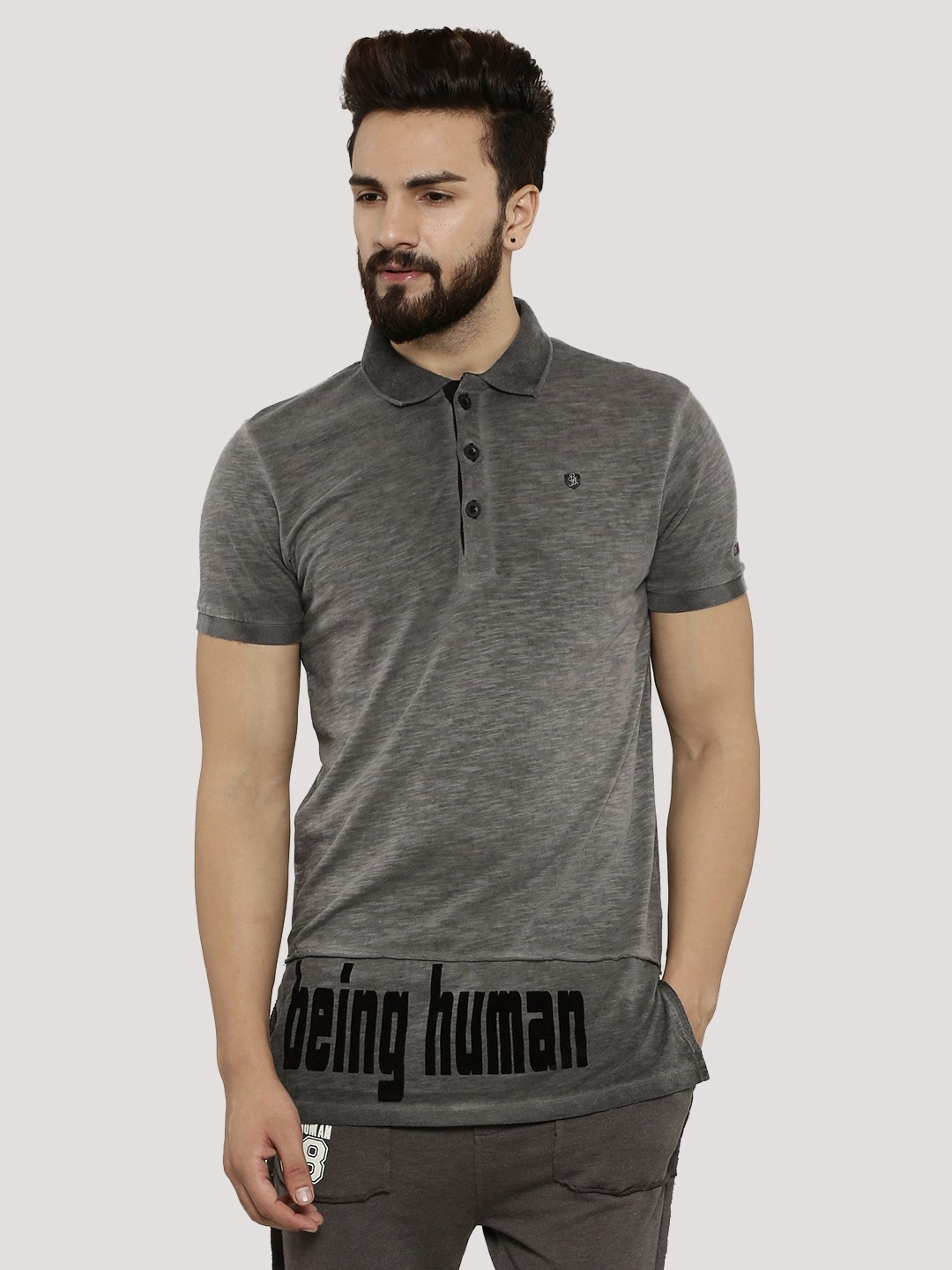 Buy being human long line oil wash polo with side zip for for Being human t shirts buy online india