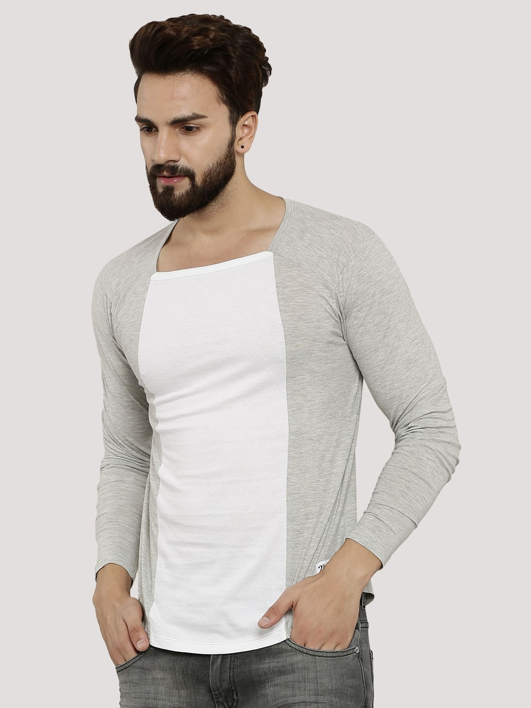 Buy kultprit square neck full sleeve t shirt for men men for Full sleeves t shirts for men