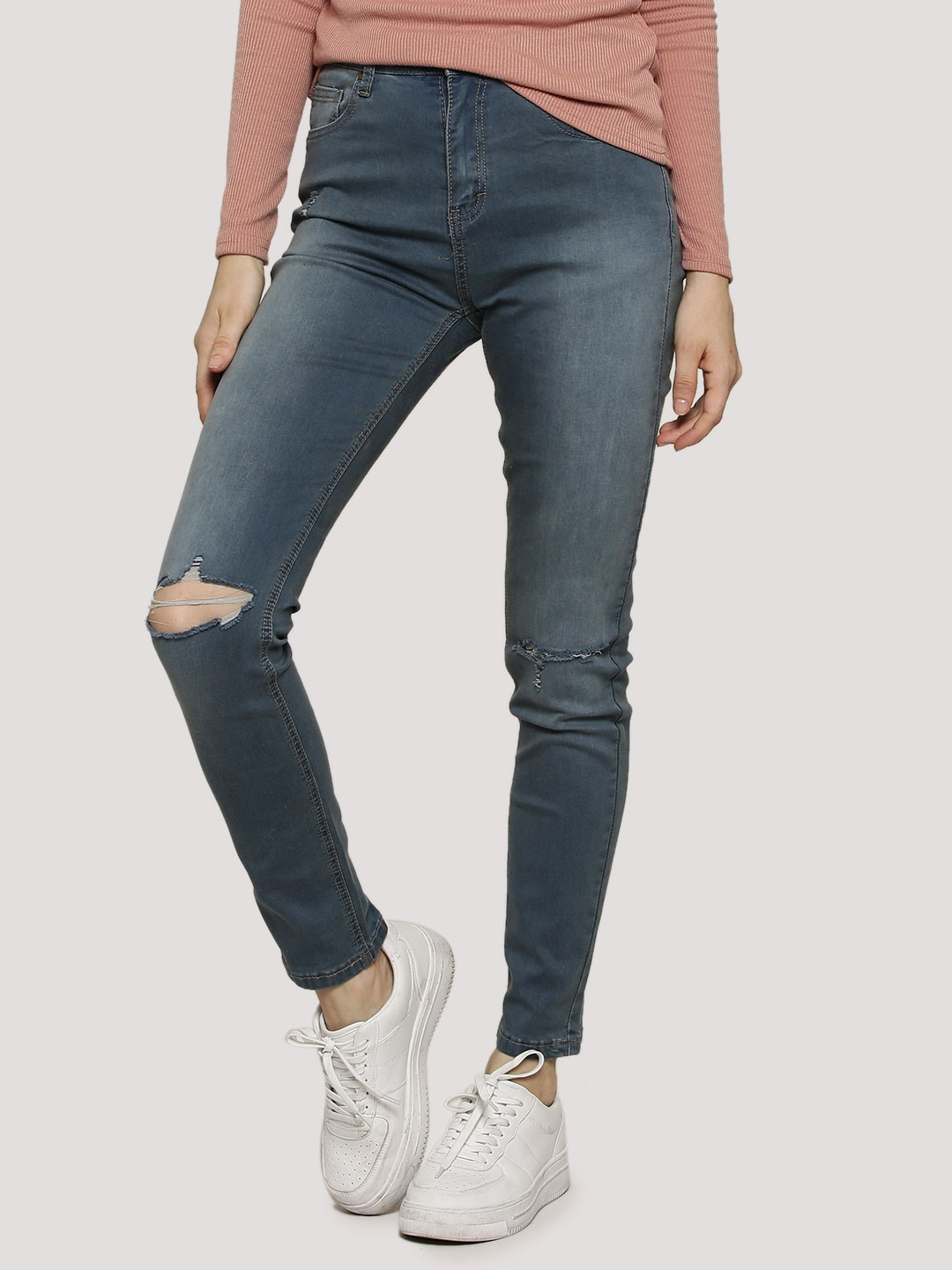 Buy BOOHOO Five Pocket High Rise Ripped Skinny Jeans For Women ...