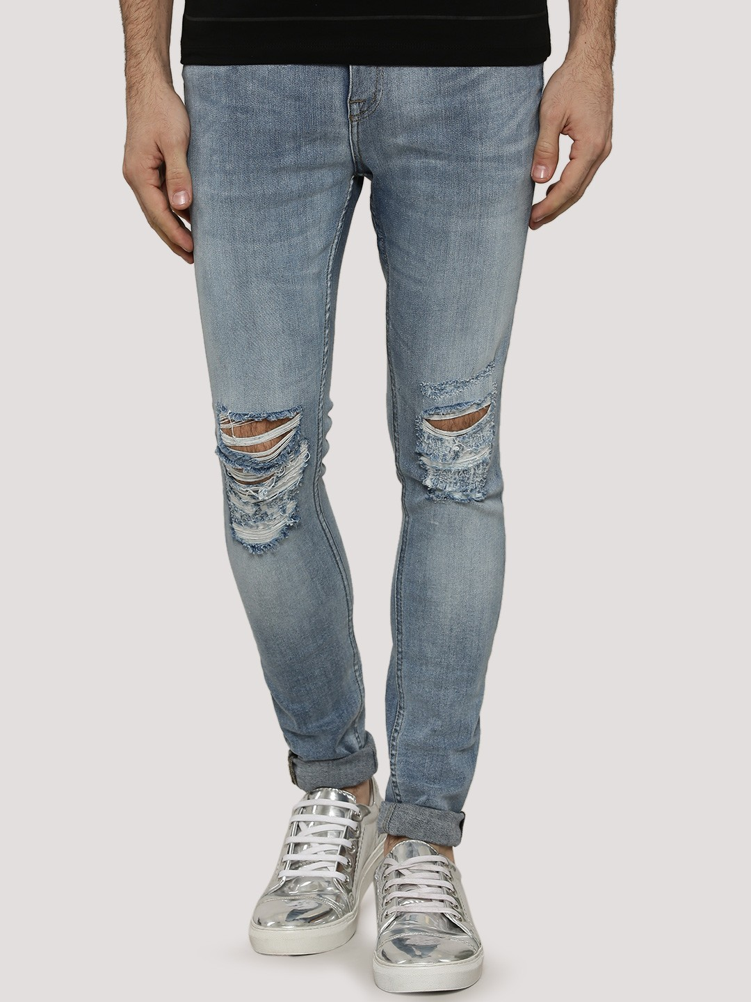 Buy NEW LOOK Light Wash Ripped Skinny Jeans For Men - Men's Blue ...