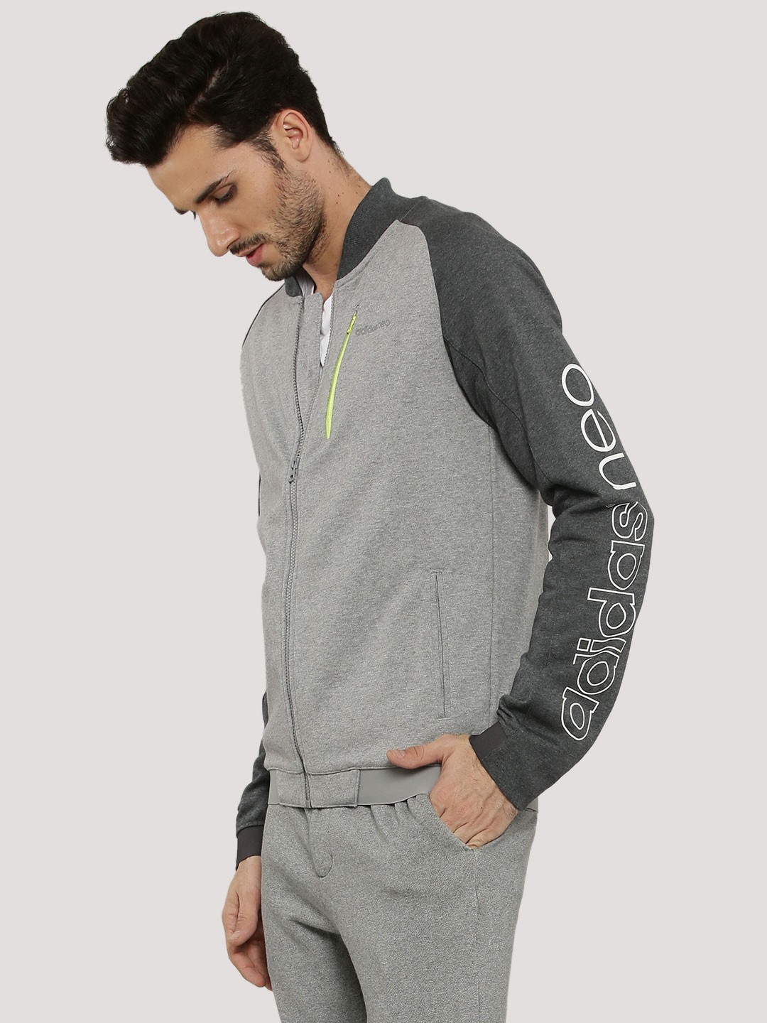 buy adidas neo jacket with zipper pocket and sleeves logo. Black Bedroom Furniture Sets. Home Design Ideas