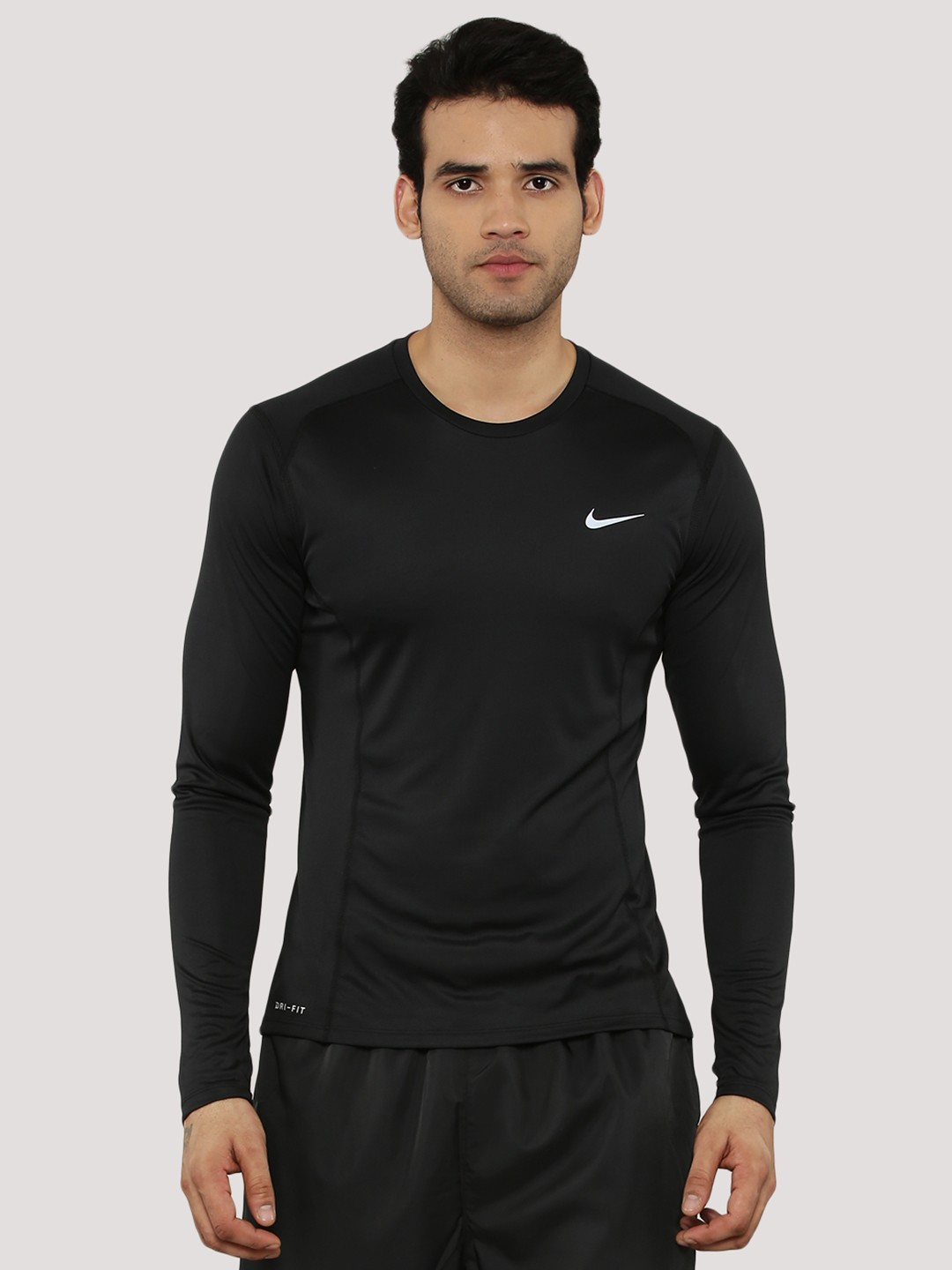 Buy nike dri fit miller full sleeves t shirt for men men for Full black t shirt